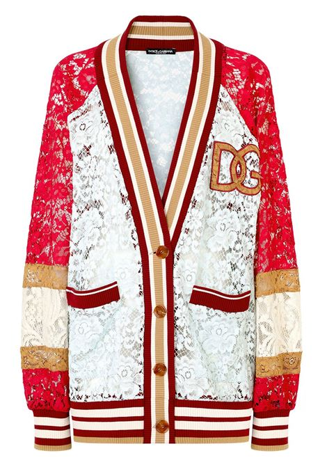 Cardigan grigio/rosso/beige DOLCE & GABBANA   CARDIGAN   F9J68ZG7BCHS9000
