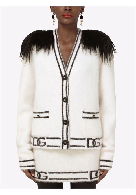 Cardigan bianco/nero DOLCE & GABBANA | FXE62ZJCMM7S9000