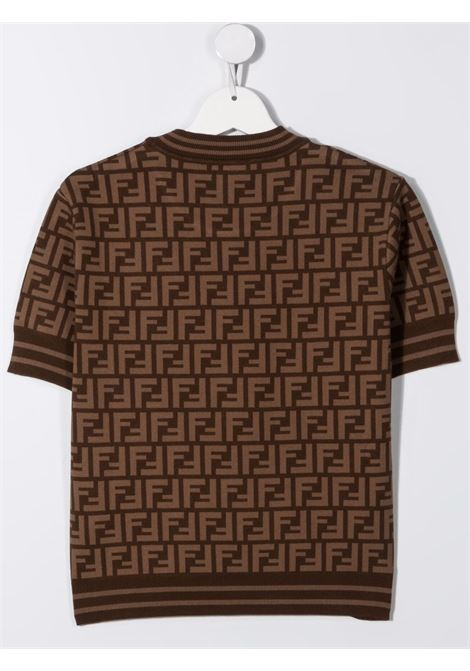 T-shirt marrone FENDI KIDS | JFG069TAEYDF15B6