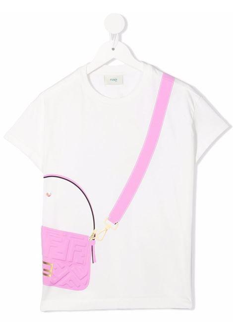 T-shirt bianca FENDI KIDS | JFI2427AJF1064