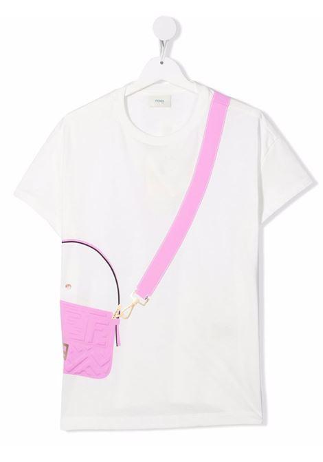 T-shirt bianca FENDI KIDS | JFI242T7AJF1064