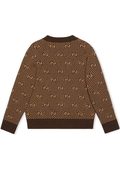 Cardigan marrone GUCCI KIDS | 638327XKBNH2381