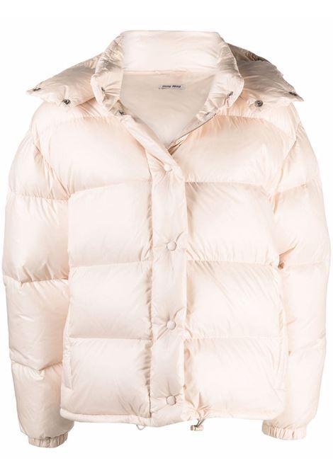 Beige padded jacket MIU MIU | ML734HU7F0770