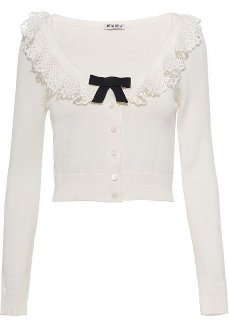 White cardigan MIU MIU | MMF4821Y9GF0009