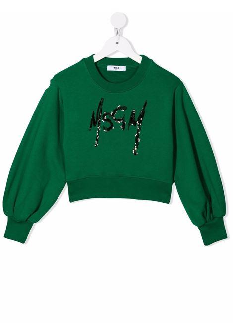 Green sweatshirt MSGM KIDS | 027793080