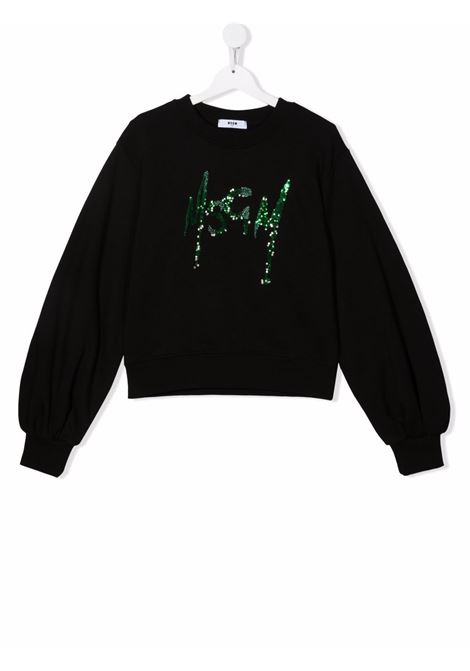 Black sweatshirt MSGM KIDS | 027793T110