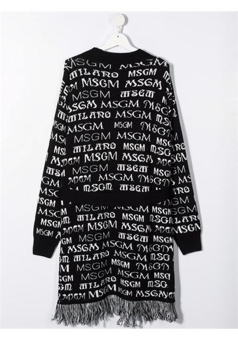 Cardigan nero/bianco MSGM KIDS   027796T110