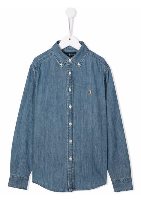 Camicia blu POLO RALPH LAUREN KIDS | 323713843001