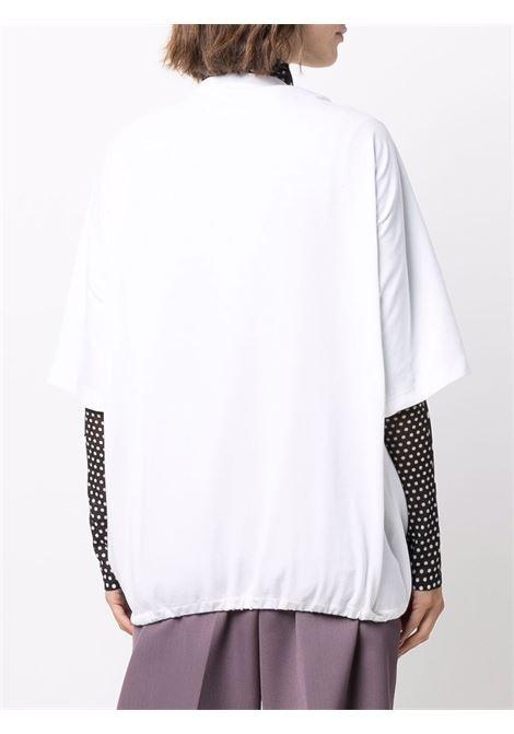 T-shirt bianca con placca PRADA | 135697S2121YYAF0N40