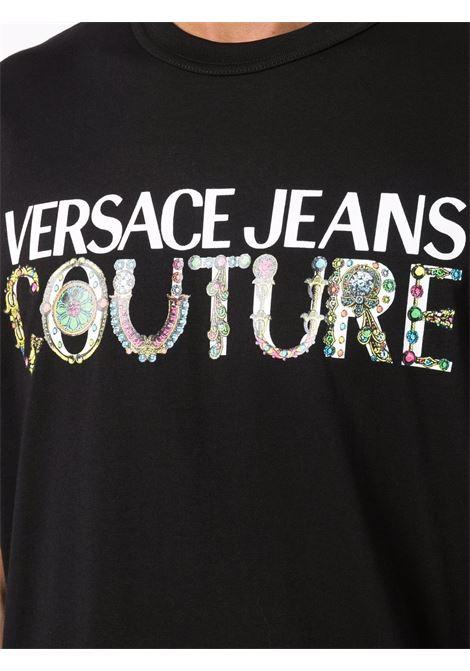 T-shirt nera VERSACE JEANS COUTURE | T-SHIRT | 71GAHF04CJ00F71UP601899