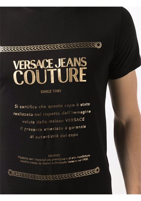 T-shirt nera VERSACE JEANS COUTURE | T-SHIRT | 71GAHT01CJ00T71UP600G89