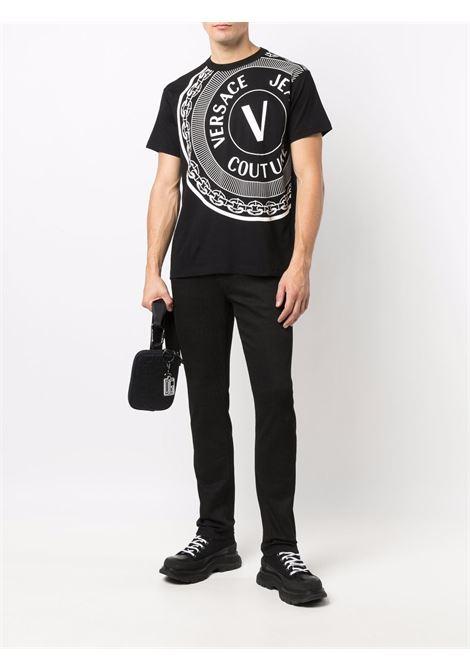 T-shirt nera VERSACE JEANS COUTURE | T-SHIRT | 71GAHT19CJ00T71UP601899
