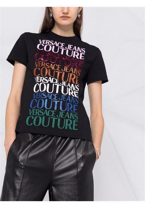 T-shirt nera VERSACE JEANS COUTURE | T-SHIRT | 71HAHG01CJ00G71DP613899