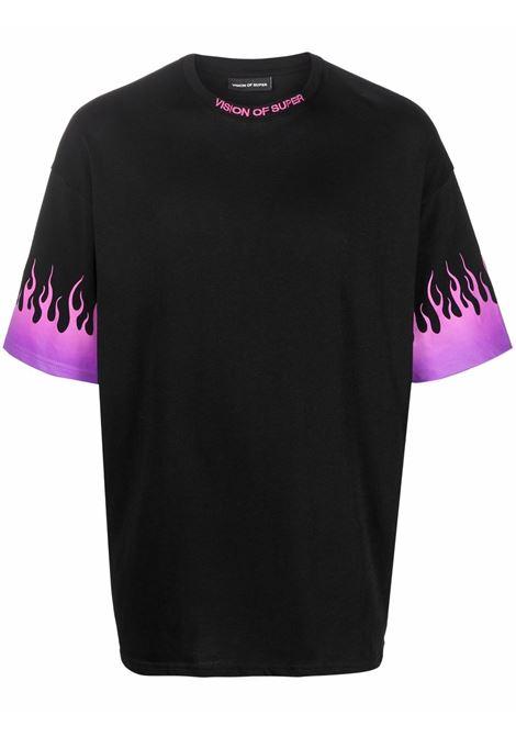 Black t-shirt VISION OF SUPER | VOSB1PURPLESFUBLACK