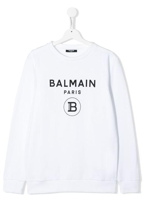 White sweatshirt BALMAIN KIDS | SWEATSHIRTS | 6M4760TMX270100