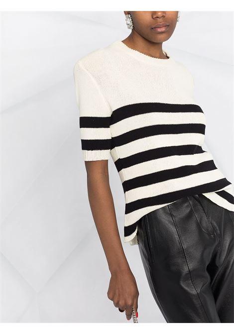 T-shirt bianca con righe BALMAIN | T-SHIRT | VF0AL025K266GAU