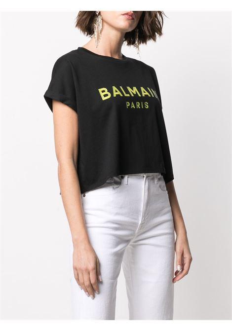T-shirt nera BALMAIN | T-SHIRT | VF0EE005B035EDL