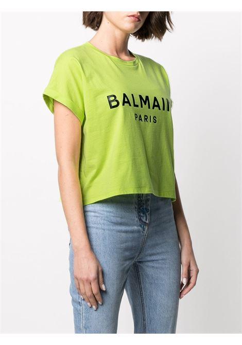 T-shirt verde BALMAIN | T-SHIRT | VF0EE005B035IAU