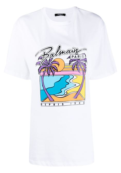 T-shirt bianca BALMAIN | T-SHIRT | VF11558B500GCS