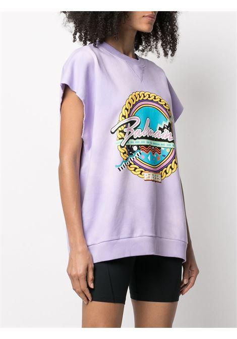 T-shirt viola BALMAIN | T-SHIRT | VF13743B504QBF