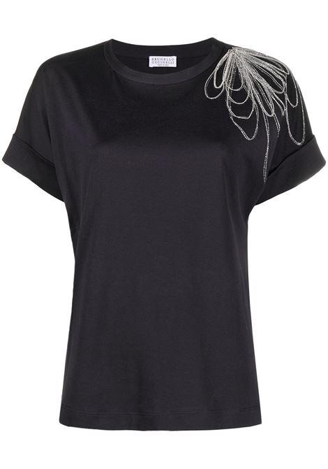 T- shirt nera BRUNELLO CUCINELLI | M0A45BT400C7186