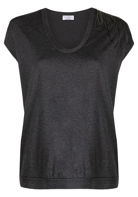 T-shirt grigio scuro BRUNELLO CUCINELLI | M0A45BT410C390