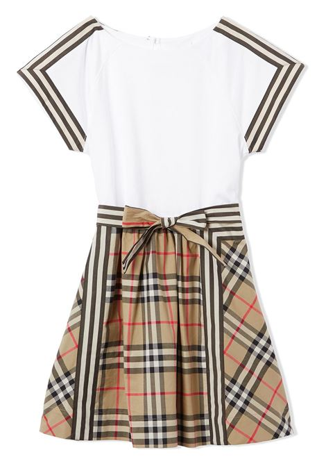 Beige/white dress BURBERRY KIDS | DRESS | 8033572A7028