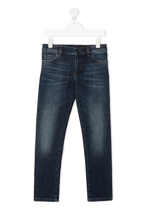 Pantalone blu DOLCE & GABBANA KIDS | PANTALONI | L42F04LD945B9110