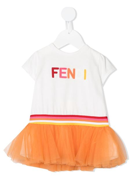 White/orange dress FENDI KIDS | DRESS | BFB361AEY6F0TU9