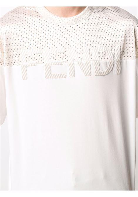 White/beige t-shirt FENDI | FAF631A52GF1DS5