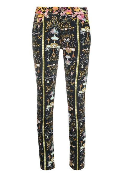 Pantalone nero/multicolore VERSACE JEANS COUTURE | PANTALONI | A1HWA0SMSR77Q899