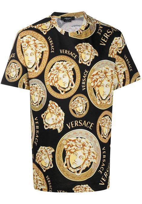 T-shirt nera/dorato VERSACE | A761131F006415B000