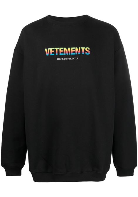 Felpa nera VETEMENTS | FELPE | UE51TR630B1613BLACK