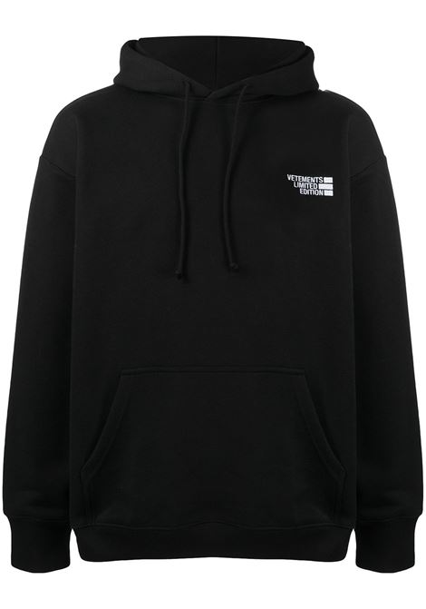 Felpa nera VETEMENTS | FELPE | UE51TR730B1604BLACK