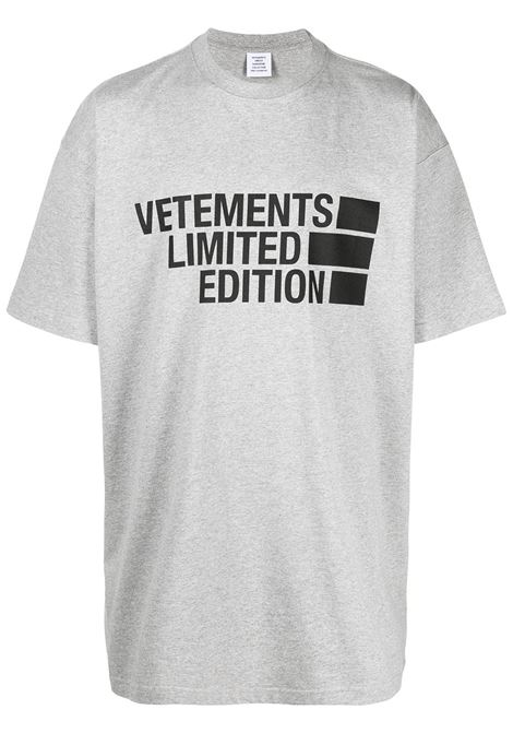 t-shirt grigia VETEMENTS | T-SHIRT | UE51TR810G1611GREYMELANGE