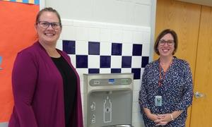 Pictured are PTA President, Pam Fine (left) and Hayfield ES Principal, Jessica Lewis (right)