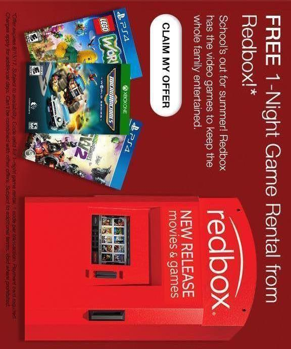 FREE 1-Night Game Rental from Redbox!