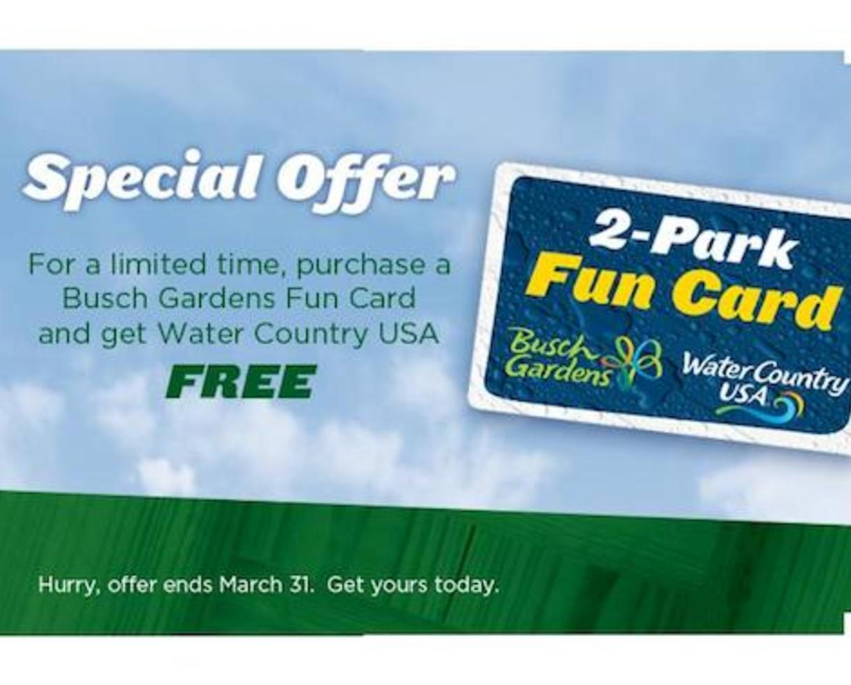 Busch Gardens Water Country Usa 2 Park Fun Card Fasci Garden