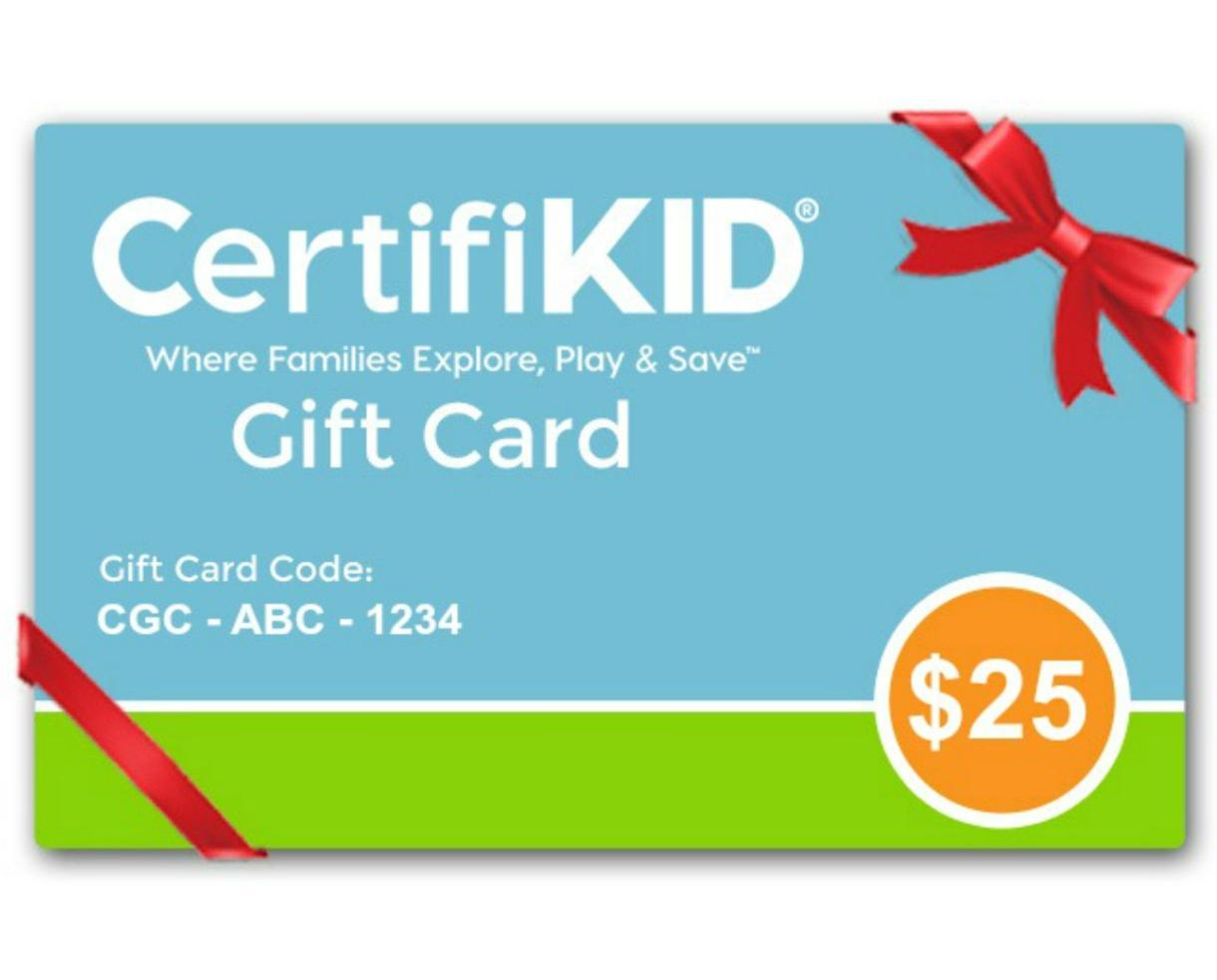 Give the Gift of FAMILY FUN This Holiday Season with a CertifiKID GIFT CARD!