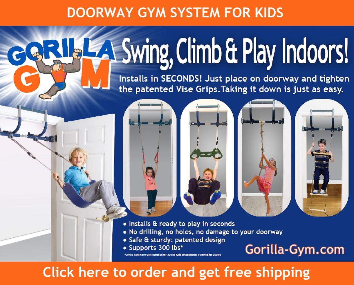 Swing, Climb and Play INDOORS with Gorilla Gym Kids Deluxe - FREE Shipping!