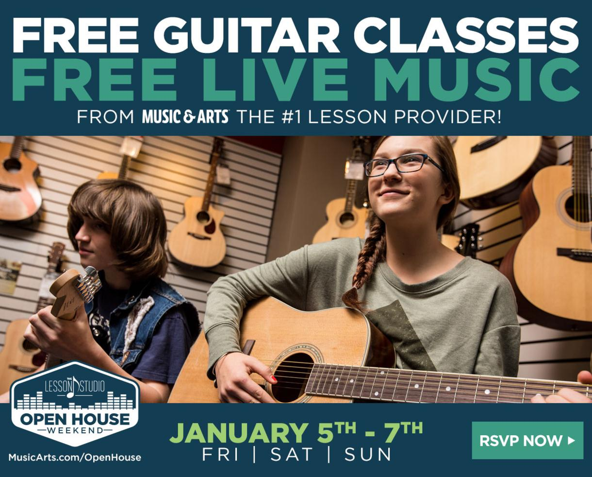 FREE GUITAR CLASSES and FREE LIVE MUSIC at Music & Arts Jan. 5-7, 2018 - The Nation's Largest Music Lesson Provider