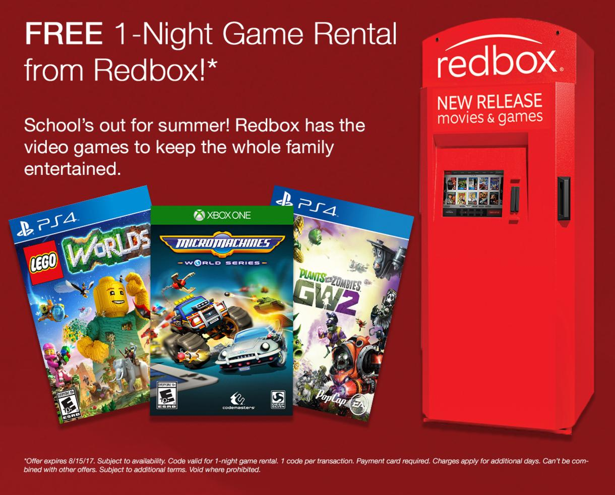 FREE 1-Night Game Rental from Redbox!*