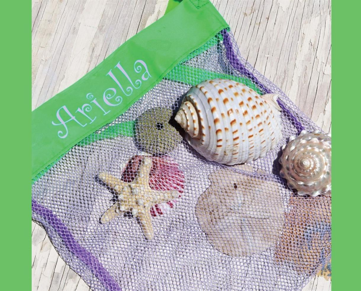 Personalized Seashell Collecting Beach Bag