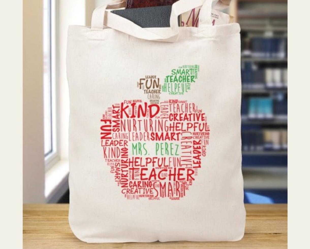 Personalized Canvas Teacher Tote Bag - 14 Designs For Your ...