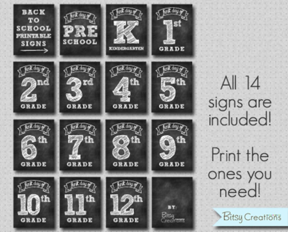 $2 for Printable First & Last Day of School Signs by Bitsy Creations (80% Off - $10 value)