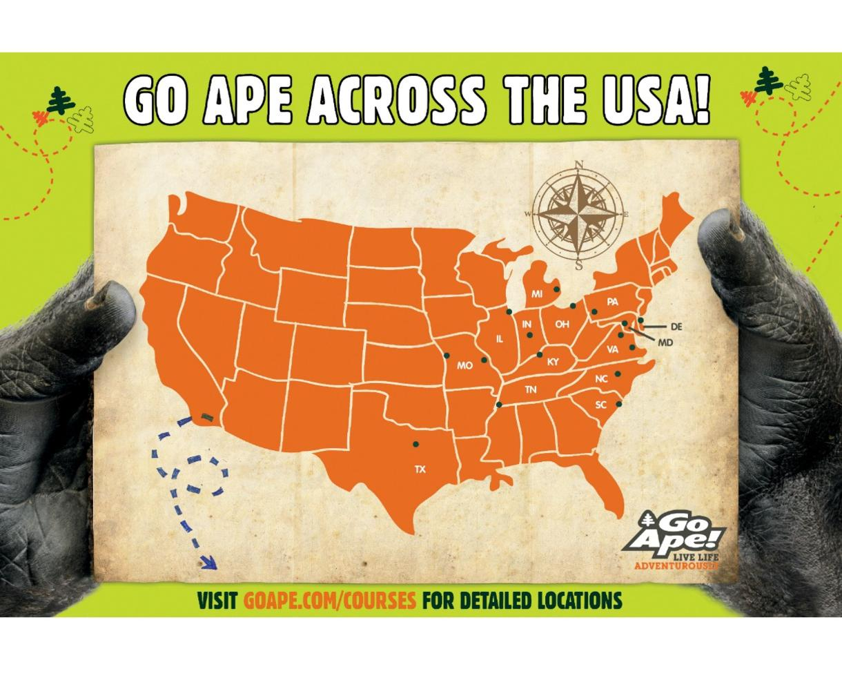 $23+ for Go Ape Treetop Junior or Treetop Adventure - BRAND NEW Springfield, VA Location + 11 Other U.S. Locations!