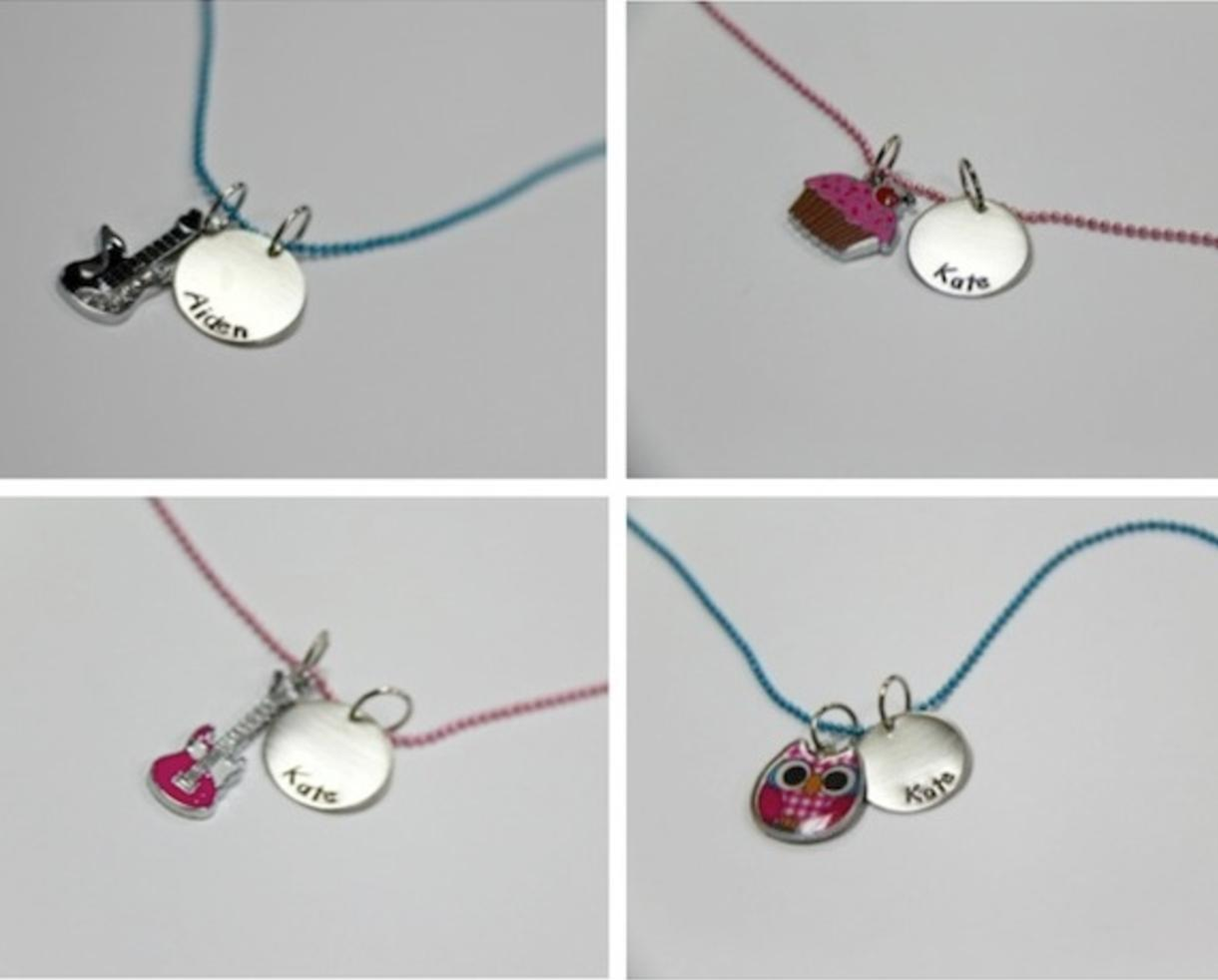 $15 for Personalized Kid's Necklace Shipped - Guitar, Cupcake or Owl Charm (32% off)