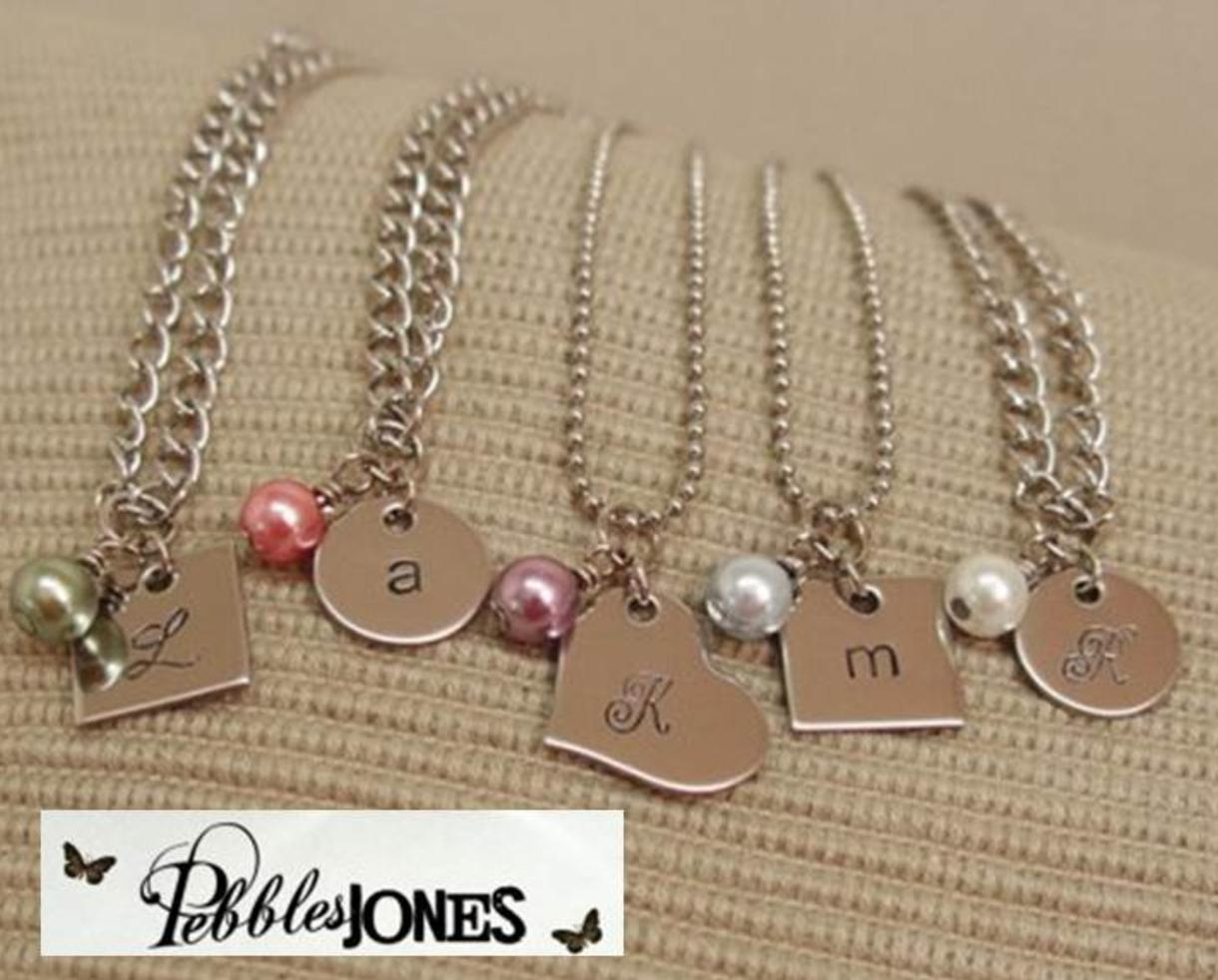 $10 for Initial Necklace w/Colored Glass Bead - Shipped! (40% Off!)