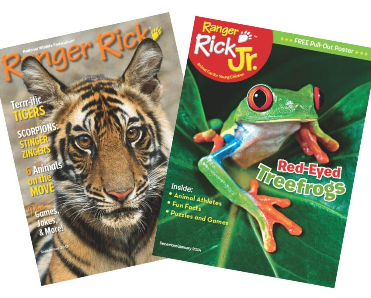 Since Ranger Rick Jr. Magazine has been children's gateway into the natural world. Created by the National Wildlife Federation for the youngest future explorers aged 3 to 7 years, it is full of discoveries, fun activities and cute animals that will draw preschoolers closer to nature and spark curiosity for the wild world around them.