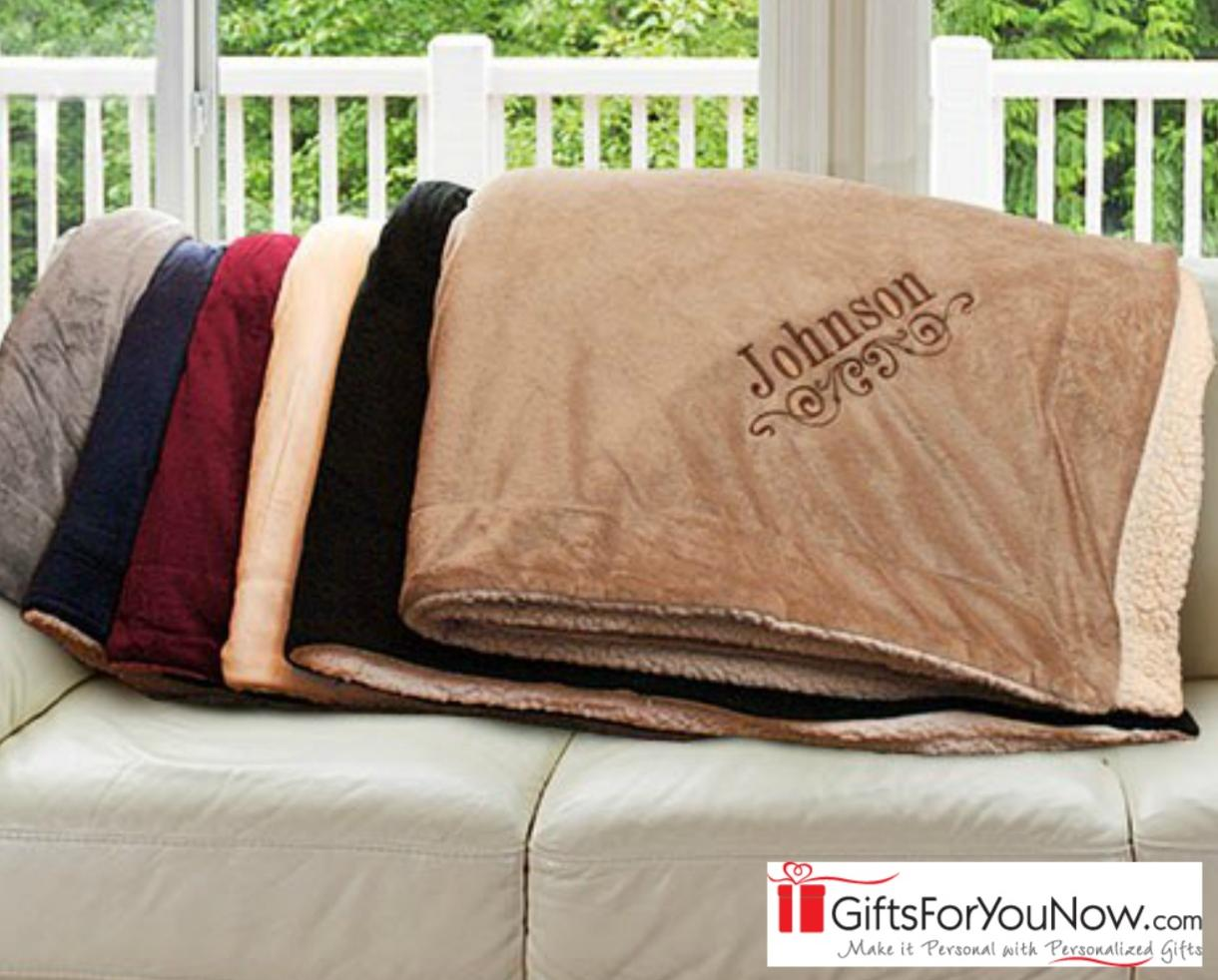$25.99 for Personalized Embroidered Sherpa Blanket - 6 Color Choices - Makes a Great Gift! (39% Off)